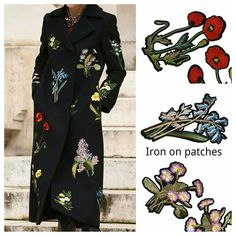 Embroidery is the main key of that autumn. That gorgeous coat is decorated with iron on floral patches and you can get them @ 🌹kbazaar.etsy.com