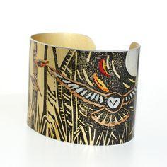 Treetops owl cuff - print from an original linocut £32.95