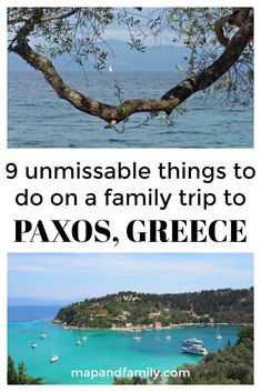 Unmissable things to do on a family trip to Paxos in the Ionian islands of Greece. Paxos is a haven of brilliant blue seas and secluded bays.  It's a place to relax with family and friends: swimming, sunning, exploring and taking time out in a timeless Greek island setting. #familytravel #greekislands #familyholiday