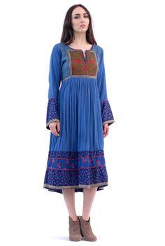 Oslo Embroidered Calico Dress | Spanish Moss
