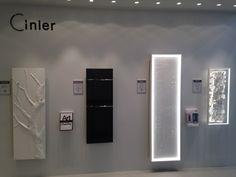 CINIER contemporay radiators and lighting in display.  Exposition de radiateurs et luminaires CINIER.