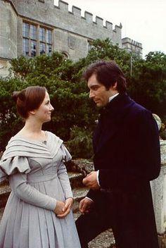 Zelah Clarke (Jane Eyre) & Timothy Dalton (Mr. Edward Rochester) - Jane Eyre directed by Julian Amyes (TV Mini-Series ,1983) #charlottebronte