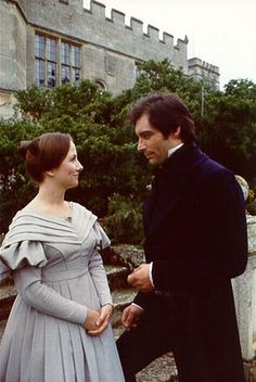 Zelah Clarke (Jane Eyre) & Timothy Dalton (Mr. Edward Rochester) - Jane Eyre directed by Julian Amyes (TV Mini-Series ,1983) #charlottebronte