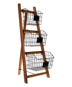 Use old wooden ladder and egg baskets! Another great find on Basket Ladder Set Old Wooden Ladders, Wood Ladder, Ladder Decor, Wooden Basket, Metal Baskets, Decorative Baskets, Ladder Storage, Storage Baskets, Wire Storage