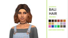 "greenllamas: ""GREENLLAMAS - BALI HAIRSo my sim Mia (in the picture) needed a new hairstyle so I made one. DETAILS BELOW: • 18 EA SWATCHES + OMBRES • HAT COMPATIBLE • BASE GAME COMPATIBLE • ENABLED FOR..."