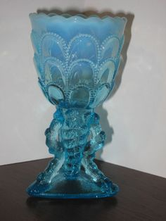 "Northwood 1903 ""Beads And Bark"" Blue Opalescent Glass Twig Vase"