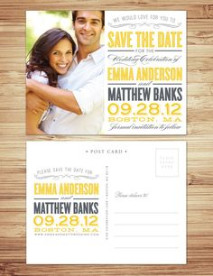 Old Fashioned save the date post card