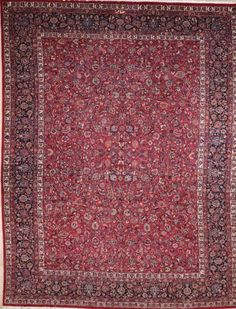 SEMI-ANTIQUE PERSIAN MASHAD AREA RUG 2420 - AREA RUG This beautiful Handmade Knotted Rectangular rug is approximately 11 x 14 Semi-antique area rug from our large collection of handmade area rugs with Persian Mashad style from Iran/Persia with Wool