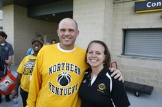 Men's and Women's Basketball coaches Dave Bezold and Dawn Plitzuweit at the Norse Force Pep Rally.