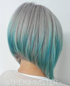 Gray Bob With Blue Highlights; Olivia's hair with the blue highlights Grey Bob, Blue Bob, Bob Hairstyles 2018, Short Bob Haircuts, Latest Hairstyles, Pixie Hairstyles, Angled Bob Hairstyles, Edgy Haircuts, Simple Hairstyles