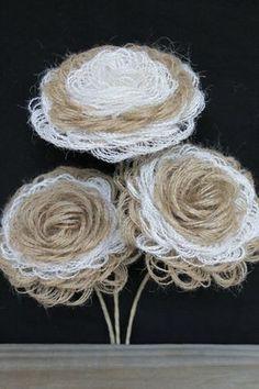 3 Handmade Burlap Flowers, Shabby Look Decor, Wedding Flowers, Loop Burlap Flowers, Country Flower, Wedding Decor, Stemmed Burlap Flowers