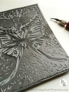 52 Weeks of Print: Bee & Butterfly Print (Lori Plyler Art & Design) Linolium, Linocut Prints, Art Prints, Block Prints, Coloring Book Art, Mandala Coloring, Adult Coloring, Styrofoam Art, Lino Art