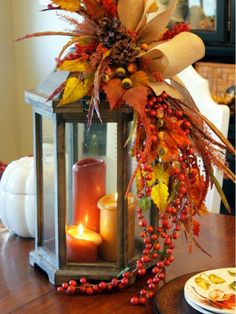 fall flowers with lantern