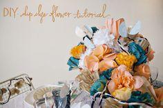 DIY paper flower installation by Julia's Poppies