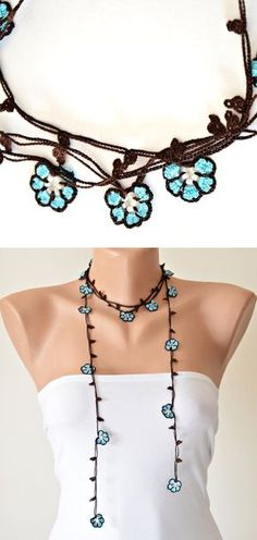 Turquoise Flowers Brown Crochet Oya Necklace Wrap Jewelry Beaded Lariat Jewellery, Beadwork, Crochet ReddApple, Gift Ideas for Her by ReddApple on Etsy https://www.etsy.com/listing/116903402/turquoise-flowers-brown-crochet-oya