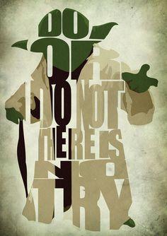 Star Wars Yoda Poster - Minimalist Illustration Typography Art Print & Poster - Prints