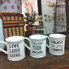 Taza cerámica con mensaje*Enjoy the little things*Live Laugh Love*Follow your dreams