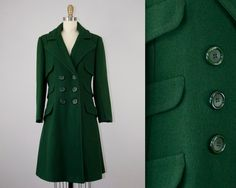 1970s Vintage Hunter Green Wool Princess Coat. 70s Winter Jacket (S) by heirravintage on Etsy