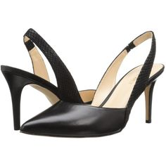 Nine West Rollover (Black/Black Leather) High Heels ($48) ❤ liked on Polyvore featuring shoes, pumps, black, high heel shoes, slingback pumps, black leather shoes, black slip on shoes and black slingback pumps