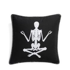 Levtex Om Skeleton Accent Pillow ($40) ❤ liked on Polyvore featuring home, home decor, throw pillows, black, canvas home decor, black throw pillows, skeleton home decor, halloween home decor and black toss pillows