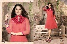 Superb Designer Ready to Wear Georgette Kurti with linning  in Pink color with beautiful Thread Embroidery .  Available in S,M,L, XL size.