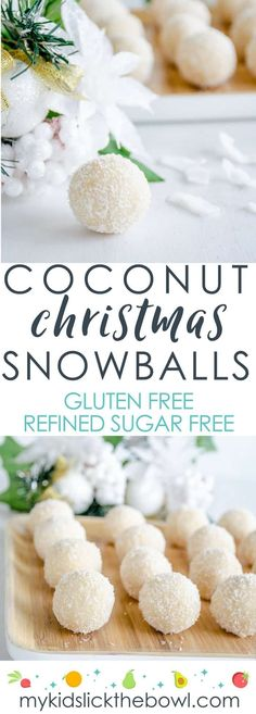 Christmas coconut snowballs, easy refined sugar-free recipe, an allergy friendly Christmas treat