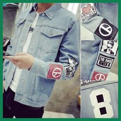 Buy 2017 Men's Denim Jacket high quality fashion Jeans Jackets Slim fit casual streetwear Vintage Mens jean clothing Plus Size Denim Jacket Patches, Denim Jacket Men, Men's Denim, Blue Denim, Blue Jeans, Outfit Jeans, Camouflage Jacket, Mens Winter Coat, Winter Coats