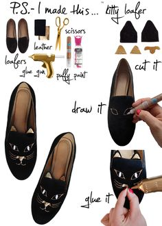 Unleash your inner Cat Power.  From  Charlotte Olympia's cat heels and flats to Jason Wu's Target collab mascot, we decided to jump on the bandwagon and pay homage to our feline friends with a delicious DIY.  Be fierce and show your feminine feline side with a DIY that's purrrrrrrfect!      To create:  cut out 2 triangles in black, that are slightly rounded, for the ears. Measure and cut out a smaller and contrasting shape for the inner ear.  Use the same fabric to create a nose s