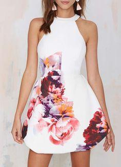ärmelloses Kleid mit Blumenmuster-weiß 25.75