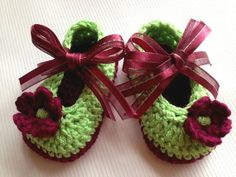 Crochet Baby Girl Booties ~❥