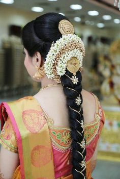 Amazing Photo gallery of South Indian Bridal Hairstyles & Poojadai(Veni). Get Inspired from our Brides's Wedding look. South Indian Wedding Hairstyles, Bridal Hairstyle Indian Wedding, Indian Hairstyles, Indian Bridal Makeup, Latest Hairstyles, Bridal Hairstyle Traditional, South Indian Hairstyle, Traditional Wedding, Bridal Braids