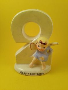 2nd Second Birthday Angel Figurine Cake Topper Candle Holder Norcrest CHARITY (04/08/2016)
