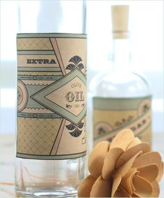DIY Vintage Style Labels for Oil & Vinegar Bottles and Wooden Boxes » Eat Drink Chic