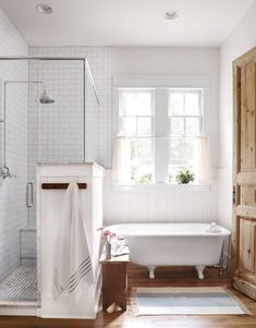 51 Farmhouse Rustic Master Bathroom Remodel Ideas Whenever you're taking a look at a farmhouse bathroom remodel, there are lots of matters you ought to take into consideration before you become started. Employing the right colour scheme, you're ready to create your bathroom a pleasant spot. Decorating a home takes time, but attempt to find the bi #farmhousebathroom Small Country Bathrooms, Rustic Master Bathroom, Blue Bathroom Decor, Modern Farmhouse Bathroom, Bathroom Interior Design, Bathroom Accessories, Bathtub Enclosures, Walk In Shower Enclosures, Bathroom Pictures