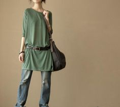 Simple comfortable green cotton dress by MaLieb on Etsy, $66.00