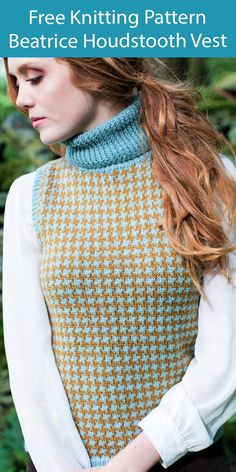 Free Vest Knitting Pattern Beatrice Houndstooth Vest - Sleeveless pullover vest with turtleneck collar and stranded houndstooth pattern. DK weight yarn. Designed by Emma Wright for West Yorkshire Spinners