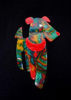 Colourful Lea Stein dog - art-decoratif