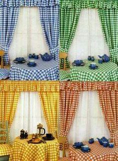 Kitchen Curtains in Gingham Gingham Curtains, Bed Curtains, Country Curtains, Shabby Chic Kitchen, Country Kitchen, Kitchen Decor, Curtain Styles, Curtain Designs, Cortinas Country