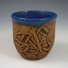 Coil-Built Stoneware Pottery Butterfly Mug by Ann Marie Cooper