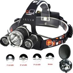 High Powered Lumen Bright Headlight Headlamp Flashlight Torch 3 CREE XM-L2 T6 LED with Rechargeable Batteries and Wall Charger for Hiking Camping Riding Fishing Hunting. 100% ORIGINAL CREE LAMP - 3*CREE XM-L2 Beads,Include 2 rechargeable 18650 batteries, Wall charger and Headlamp Dedicated USB Cable and 1 headlamp case. HANDSFREE, EASY&CONVENIENT- How much easier would tasks, walks at night with two free hands,Light weight, comfortable wear,4 Modes bright adjust: Low, Mid, High & Strobe…