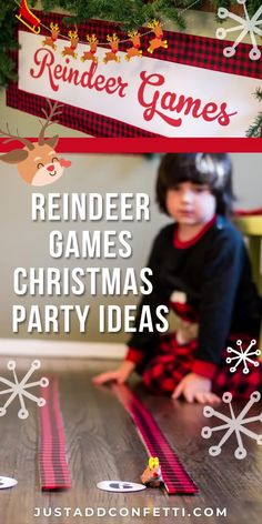 Planning a fun kids Christmas party this season? You have to include these easy and cute Reindeer Games! These kids Christmas party game ideas are so fun and festive. Head to justaddconfetti.com to check out all the details and see even more of my Christmas party and Christmas gift ideas.