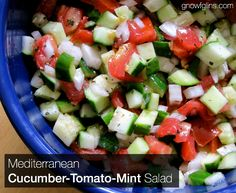 Cucumber Tomato Mint Salad   When the cucumbers and tomatoes are in season, I go a little crazy. Can you blame me? We eat one of three cucum...