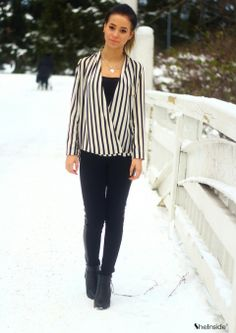 Black Beige Vertical Stripe Stand Collar Blouse - Sheinside.com