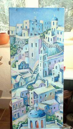 """Comodino dipinto a mano """"Una citta greca"""" autore M Sambur 2015( un fianco)"""