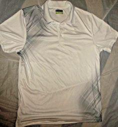 Men's PGA Tour White  Olive Green Short Sleeve Golf Polo Shirt - Size XL EG TG #PGATOUR #Polo