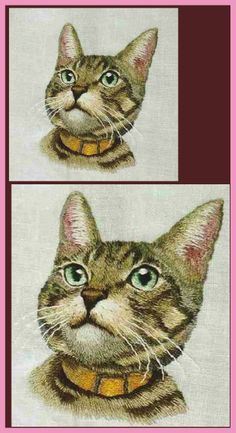 Quilting Thread, Embroidery Stitches, Hand Embroidery, Embroidery Designs, Cat Products, Thread Painting, Japanese Embroidery, Machine Applique, Cat Face