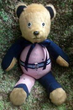 "A memory bear is made from clothing from someone special to you. Could be a loved one who has passed on or could be a child or family member that has reached a milestone. Come ""like"" me on facebook, Creative Crafts by Dawn"