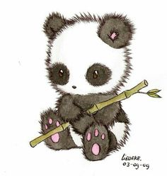 This is too adorable. I think I've found the panda image for PEYTON. She just did a research project on pandas and is a little obsessed with them now. Did you know that pandas eat up to 85 lbs of bamboo EVERY DAY? Little Panda, Panda Love, Panda Kawaii, Kawaii Anime, Chibi Panda, Panda Art, Panda Panda, Red Panda, Illustrations