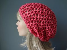 Hot Pink Open Weave Slouch Tam Hat Snood Beret.  by yarnnscents, $15.00