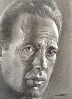 """""""Bogie"""" Original drawing by Audrey Bottrell Parks Drawing Sketches, Pencil Drawings, My Drawings, Celebrity Drawings, Celebrity Portraits, Realistic Drawings, Black And White Portraits, Pencil Portrait, Art World"""